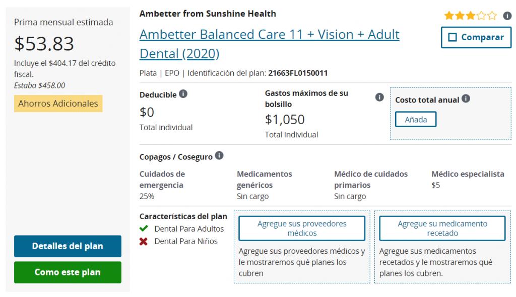 Plan de Salud de Ambetter, Cuidado Equilibrado con dental y visión